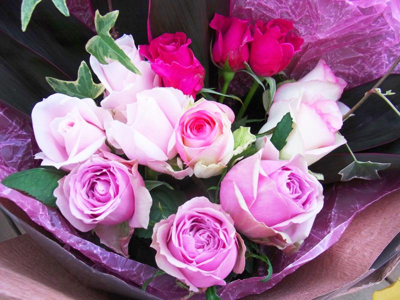 都会的な花束のお色(紫ピンク系)