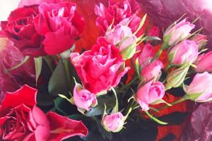 ピンク系バラの花束3