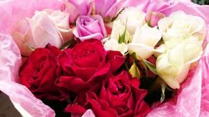 赤系バラの花束1