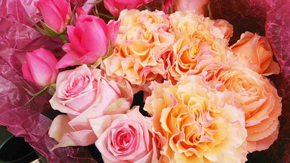 オレンジ系バラの花束2