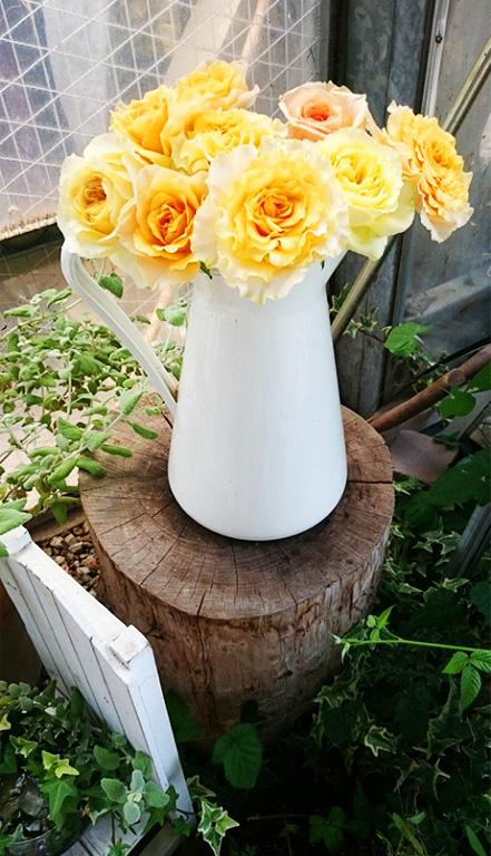 最初は、長さに合う花瓶に挿します